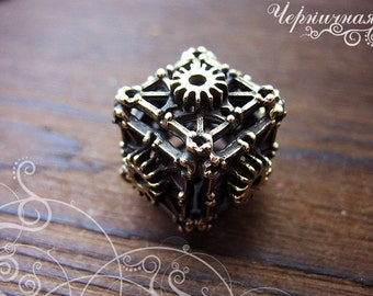 Brass Steampunk Spacer - Handmade Findings - Steampunk Gear - Cube Findings L1474