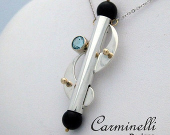 Carminelli Sterling and Gold Pendant with Onix