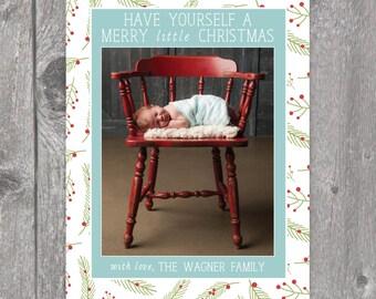 Printable Custom Photo Holiday Card, Newborn Christmas Card, Newborn Announcement