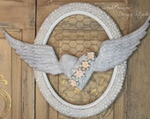 Angel wing wall decor, metal angel wings with heart, Mediterranea Design Studio, Vintage wall decor, shabby chic angel wings