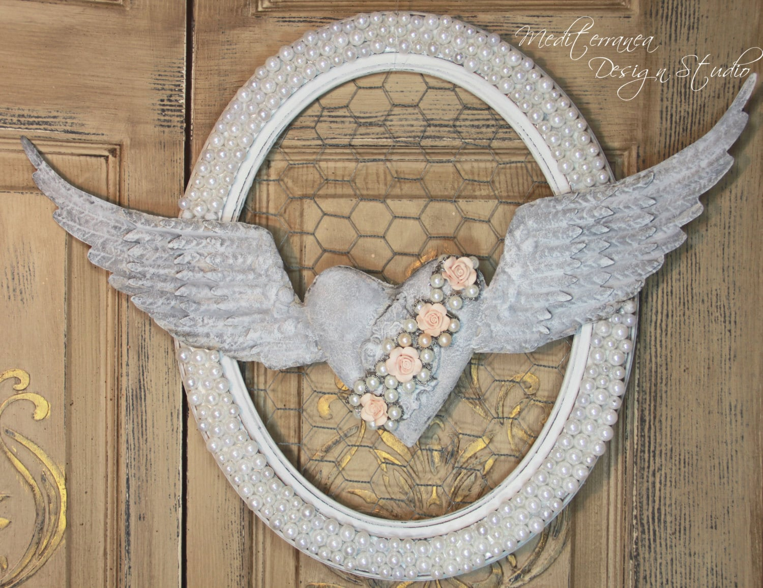 Angel wing wall decor metal angel wings with heart heart for Angel wings wall decoration
