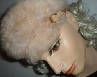 vintage kangol beret  made in england berrat hat  with bow  angora blend beautiful piece smalls smaller meds champage color