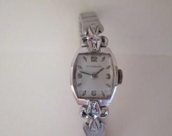 Vintage 1940's Wittnauer 14K Gold Watch with 2 Diamonds