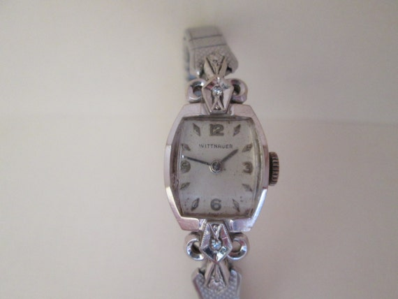 Vintage 1940s wittnauer 14k gold watch with 2 diamonds like this item sciox Choice Image