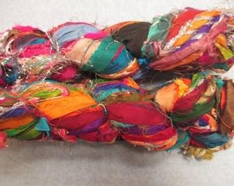 SALE Sari Silk Ribbon,  Turkish Candy,  30 Yards, Note sparkly tinsel ,  Fair Trade item