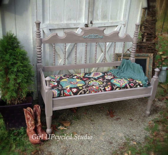 Painted Furniture Bench Boho Gypsy Shabby Chic Furniture Bed