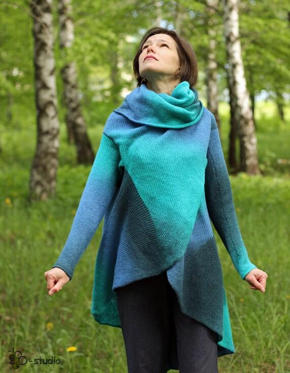 Wool Cape Knitting Pattern : KNITTING PATTERN Wool cardigan Knitted sweater Original cape Cardigan pattern...