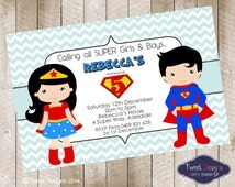 SUPERHERO GIRL INVITATION, Printable Superhero Invitation, Superhero Boy or Girl Invitation, Super Boys and Girls Chevron Invitation