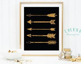 Arrow Print, Arrow Wall Art, Gold Glitter Arrow Print, Arrows Nursery Art, Arrow Art, Arrow Decor, Nursery Decor