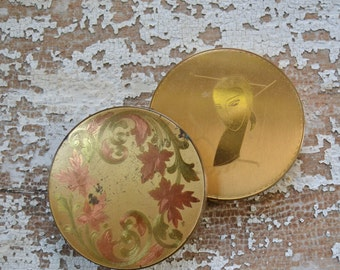 Vintage Art Deco Etched Compact Mirrors - Gold Powder Case