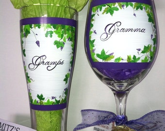 Grape themed wine glass and pilsner for gramps and gramma