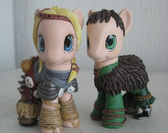 Astrid & Hiccup my little pony customs