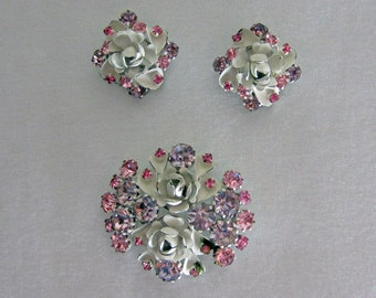 Vintage Austrian Earring & Brooch Set. Painted White Roses with Purple and Pink Rhinestones, Circa 1940s.