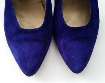 Anne Klein Purple Leather Suede Shoes Size 8