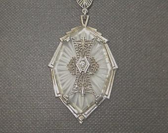 Antique Camphor Glass Necklace Sterling Silver Art Deco