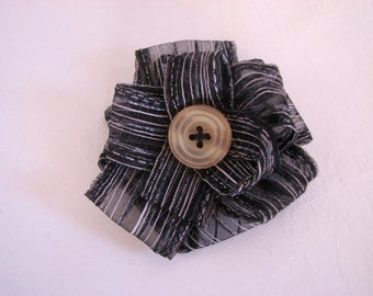 SALE Black & White Striped Flower Accessory with Sunny Yellow Button