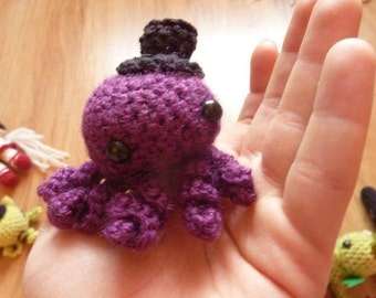 Any color - Kawaii OCTOPUS hipster gentleman octopi in a top hat - cute keyring -amigurumi toy