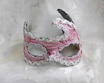 Pink Brocade Masquerade Mask, Pink and Silver Metallic Brocade Over Leather Masquerade Mask, Pink Flexible Mask