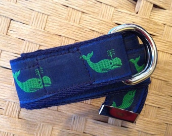 Preppy Toddler Belt, Nautical Navy Green Whale