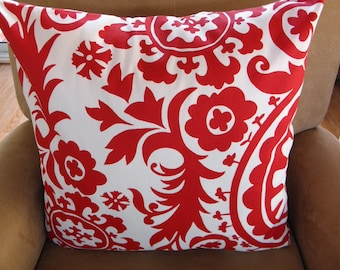 Big Sale !!! Red and White Floral Pillow Cover 20x20