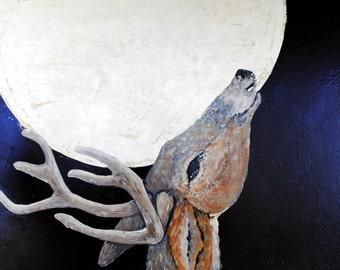 Drinking Down the Moon / Deer Painting / Oil Paint / Original Art