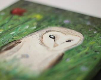 Barn Owl Painting, Barn Owl Art, Wildlife Painting, Original Painting, Woodland Art, Meadow Painting, Canvas Painting, Acrylic Painting