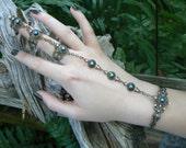 black slave bracelet triple ring full finger ring hand chain slave ring bohemian elf Renaissance Victorian Goth goddess pagan boho gypsy