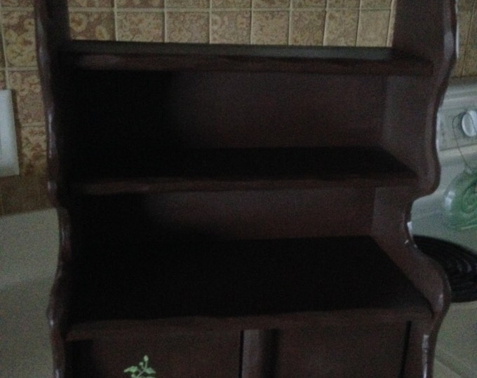 Solid Wood Cupboard with 3 shelves and a closed compartment