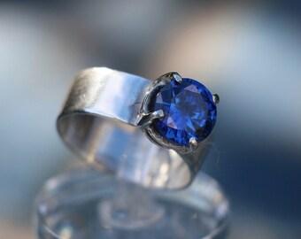 Blue Zircon Diamond Ring, Blue Sterling Silver Ring, Cobalt Blue Ring, Sterling Silver Ring With Blue Diamond