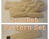 PDF Crochet Patterns - Alpine Cable Mittens and Headband - Instant Download