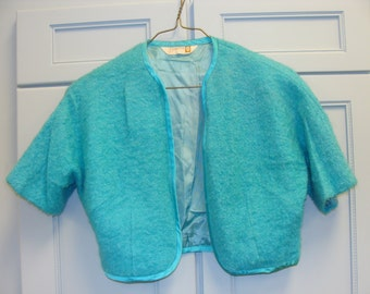 Vintage Teal Bolero Style Jacket from the 1960's made by Brentshire
