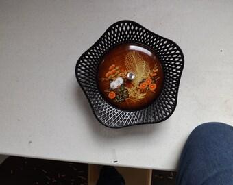 Unique Oriental Bowl and Lid Lacquer Style