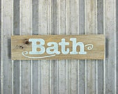 Bath Sign in Mint Blue - Rustic Wooden Hand Painted Shabby Chic Sign -  Reclaimed Wood Signs