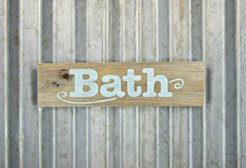 Bath Sign In Mint Blue Rustic Wooden Hand By MyBrothersBarn