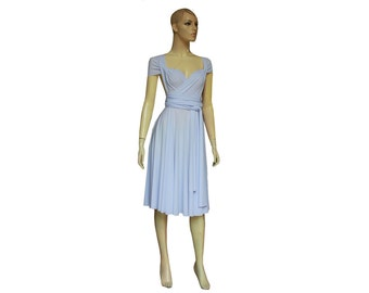 Twist Wrap Convertible Dress Baby Blue Bridesmaid Knee Length Short Infinity Prom Wedding Gown XS-5XL