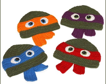 DIGITAL DOWNLOAD: Crochet Pattern for Teenage Mutant Ninja Turtles TMNT Hat Size Infant to Large Adult 6 different Sizes