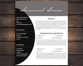 Resume Design Download Cover Letter Digital Download Black and White Modern Resume Sleek Resume Contemporary Resume Downloadable Resume