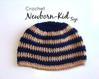 Crochet Striped Navy, Tan/ Cream Beanie