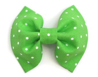 Green Fabric Bow, St Patricks Day Hair Bow, Girls Hair Clip with No Slip Grip, Green Hair Bow, Polka Dot Bow, Ready to Ship