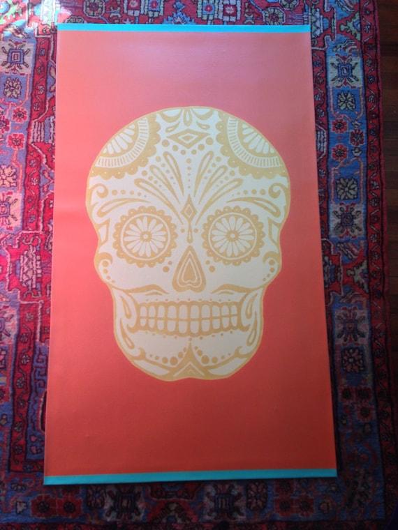 hand painted canvas rug/ floor cloth/sugar skull stencil day