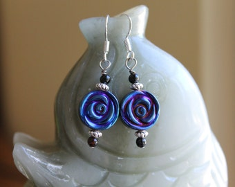 Nice Blue Hematite Flower Earrings, sterling silver hook