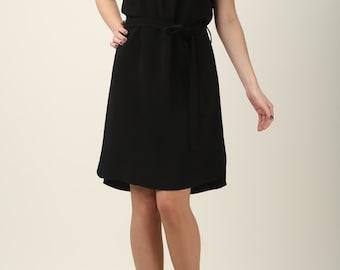 Black dress, simple black dress with dress, made to order, little black dress, lace dress, basic dress