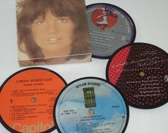 LINDA RONSTADT coasters, vinyl record coaster set