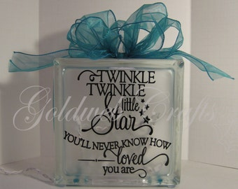 Twinkle, Twinkle Little Star, Night Light Glass Block with lights and ribbon
