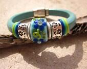 Ocean Posies Lampwork Glass Focal Bead Leather Regaliz Bracelet