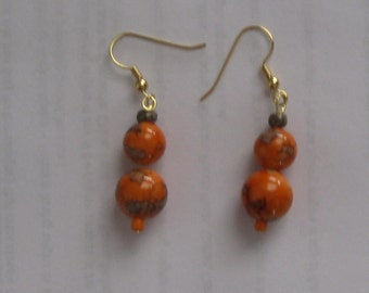 Oriental Style Orange Bead Earrings with Gold Plate Wires
