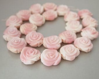 2 PCS, Natural Pink Conch Shell Hand Carved Double Side Flower Bead, Rose Bead, DIY Jewelry Supplies (BPL-5-002)