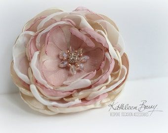 R300 Hair flower, rose gold, brooch, corsage, belt accessory - Dusty pink and champagne, blush pink or off white / Ivory