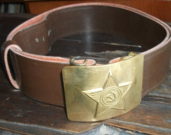 Deadstock. Vintage  everyday belt  soldier of the Soviet Army. Made in USSR. CCCP.  Military 1980. NOS