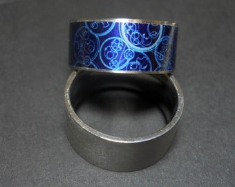 Stainless Steel Comfort Band Dr Who Gallifreyan Symbols Ring